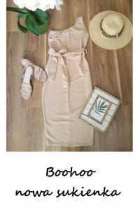 Nowa beżowa asymetryczna sukienka Boohoo M L XL ołówkowa z paskiem wiązaniem
