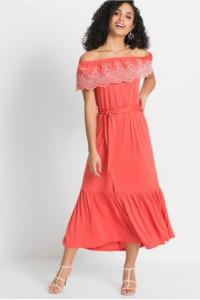 Sukienka Carmen z ażurowym haftem koralowa 40 lub 42