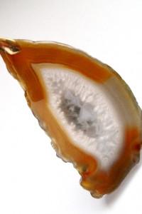 Agat z kryształem naturalny surowy plaster wisior...
