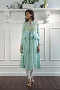 Nowa sukienka indyjska M 38 boho hippie miętowa zielona złoty w...