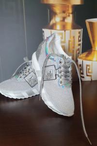 Sneakersy sportowo eleganckie Srebrne 38 Hit 2021...