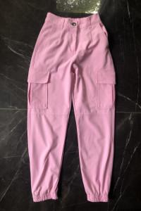 BERSHKA spodnie bojówki materiałowe róż różowe rozmiar XXS 32 stan DB