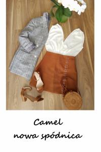 Nowa trapezowa spódnica ozdobne sznurowanie camel ruda zamsz L ...