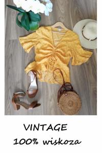 Vintage letnia bluzka w groszki wiskoza M...
