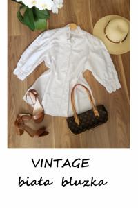 Biała bluzka z koronką vintage L XL bufiaste szerokie rękawy...