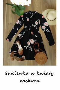 Sukienka midi w kwiaty M L długi rękaw wiskoza...