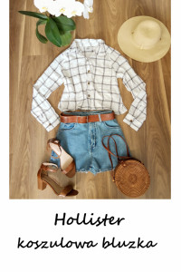 Biała koszulowa bluzka S M Hollister w kratkę basic minimalizm...