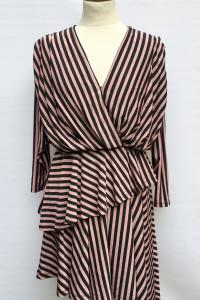 Sukienka Paski H&M L 40 Kopertowa Paseczki Róż Czarna...