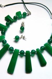 Jadeit zielony stopniowane kamienie komplet biżuterii...