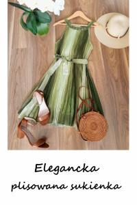 Elegancka zielona plisowana sukienka z paskiem M L ciążowa wese...