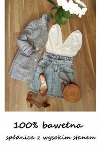 Jeansowa spódnica z paskiem bawełna S...
