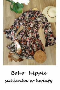 Boho hippie rozkloszowana sukienka w kwiaty XS S ze stójką falb...