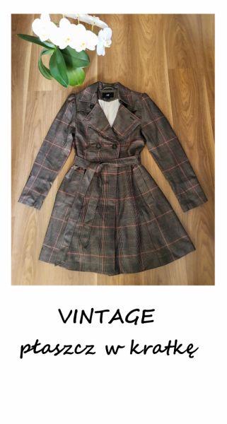 Odzież wierzchnia Vintage jesienny płaszczyk w kratkę trencz z paskiem