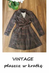 Vintage jesienny płaszczyk w kratkę trencz z paskiem