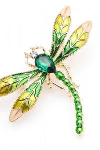 Nowa broszka zielona ważka owad złoty kolor retro pin up...