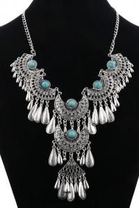 Nowy naszyjnik boho hippie tribal srebrny kolor cyrkonie turkus...