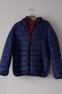Niebieska pikowana kurtka z kapturem 40 42...