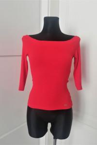 Czerwona bluzka z odkrytymi ramionami hiszpanka mohito...