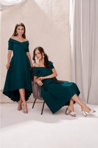 Sukienka midi asymetryczna zielona 36 38 40 42 343...