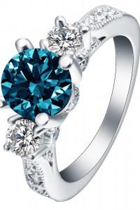 Nowy pierścionek srebrny kolor niebieska morska cyrkonia oczka ...