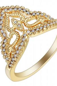 Nowy pierścionek złoty kolor jak korona tiara retro cyrkonie