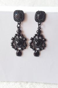 Nowe czarne kolczyki cyrkonie kamienie style retro goth dark...