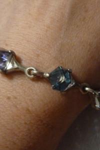 bransoletka srebrna niebieskie kamienie 3D...