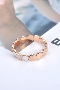 Nowy pierścionek złoty kolor masa perłowa biała kółka obrączka stal szlachetna