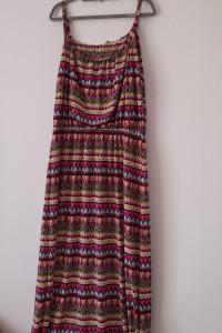 Kolorowa maxi sukienka na ramiączkach 48 50...