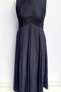Sukienka Granatowa Zara Plisowana Koronka M 38 Plisa...