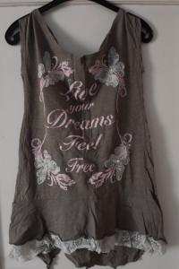 Brązowa bluzka na ramiączkach z kokardką koronka napisy perły r...