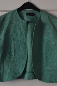 Zielone eleganckie bolerko z krótkim rękawem wyszywane ozdoby r...