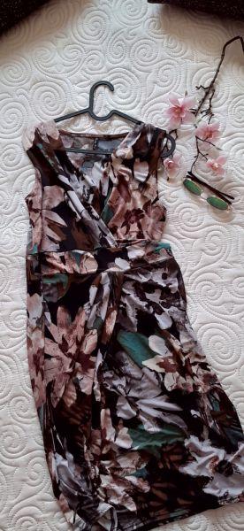 Suknie i sukienki sukienka kwiatowy wzór brązy zielenie 38 40