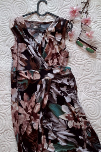 sukienka kwiatowy wzór brązy zielenie 38 40...