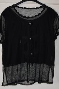Siateczkowa czarna bluzka z podszewką krótki rękaw rozmiar XL...