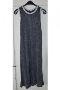 Brokatowa długa sukienka z paskiem bez rękawów elastyczna rozmiar S M