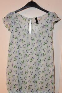 Miętowa bluzka krótki rękaw kropki print wisienki H&M rozmiar S...