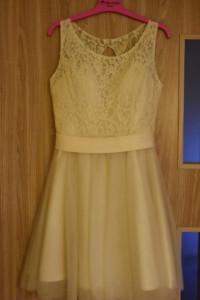 Kremowa beżowa sukienka koktajlowa koronka tiul idealna na studniówkę wesele komers rozmiar S