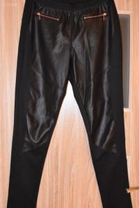 Czarne spodnie materiałowe skórzanie wstawki ozdobne zamki rozm...