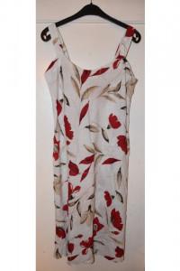 Kremowa beżowa sukienka na ramiączkach w czerwone kwiaty idealna na lato rozmiar M