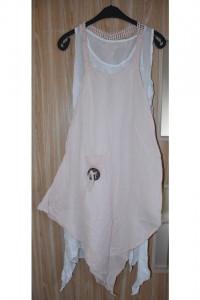 Podwójna dwuczęściowa sukienka na ramiączkach idealna na lato różowa biała rozmiar M