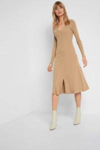 Nowa sukienka Orsay L 40 brązowa karmelowa dzianinowa sweterkowa długa