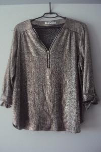 posrebrzana bluzka z suwakiem