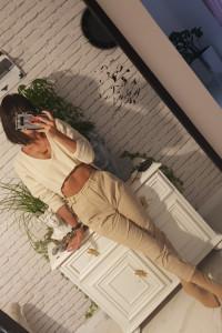 Sweter oversized nude beige beż spodnie...