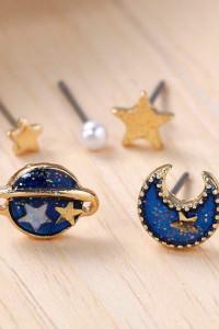 Nowe kolczyki komplet zestaw księżyc planeta gwiazdy złoty niebieski kolor