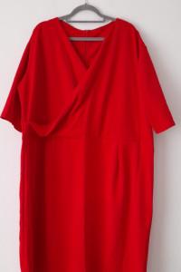 Czerwona elegancka kopertowa sukienka 58 60...