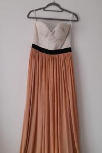 Biało różowa zwiewna maxi suknia 42...