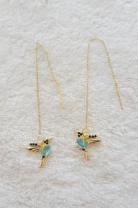 Nowe kolczyki ptak ptaki ptaszek koliber złoty kolor niebieskie cyrkonie wiszące