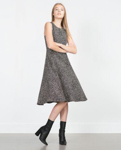 Suknie i sukienki Sukienka Midi Zara Jodełka Zamek Zip