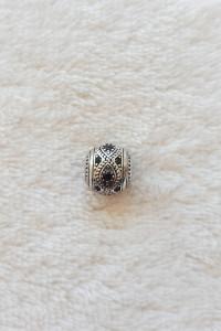 Nowy srebrny koralik beads srebro 925 czarne cyrkonie charms modułowa